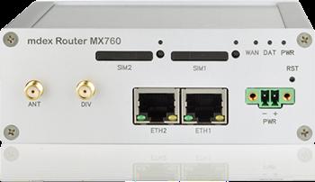 Vorderansicht des Industrie-Routers mdex MX760 zur Montage auf der Hutschiene