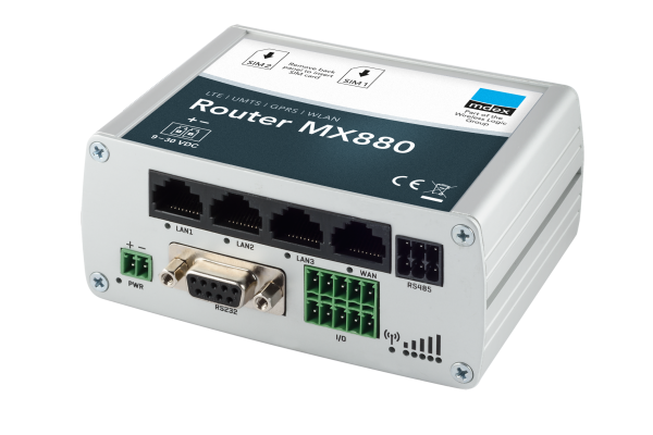 mdex Industrie-Router MX880 für Hutschiene Vorderansicht 3D