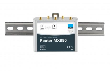 Industrie-Router mdex MX880 an der Hutschiene montiert